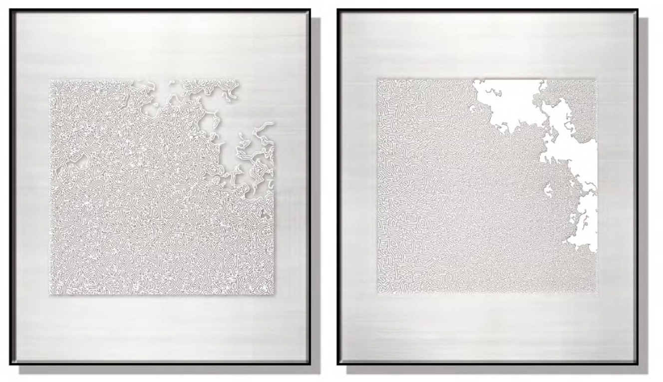 Textured Squares Silk Relief Print (Set of 2)