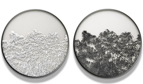 Black and White Trees Silk Relief Print (Set of 2)