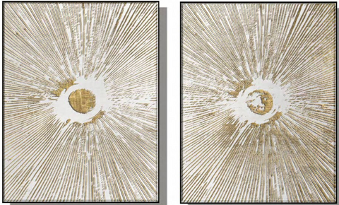 Burst Silk Relief Print with Gold Foil (Set of 2)