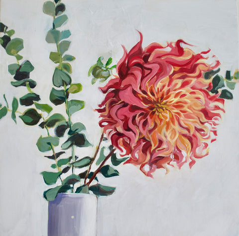 Dahlia on White by Danielle Adams