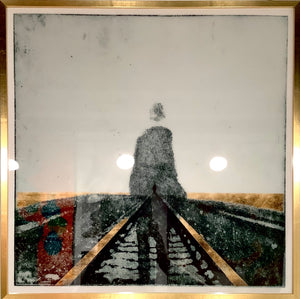 Man on Train Tracks Crystal Porcelain Print