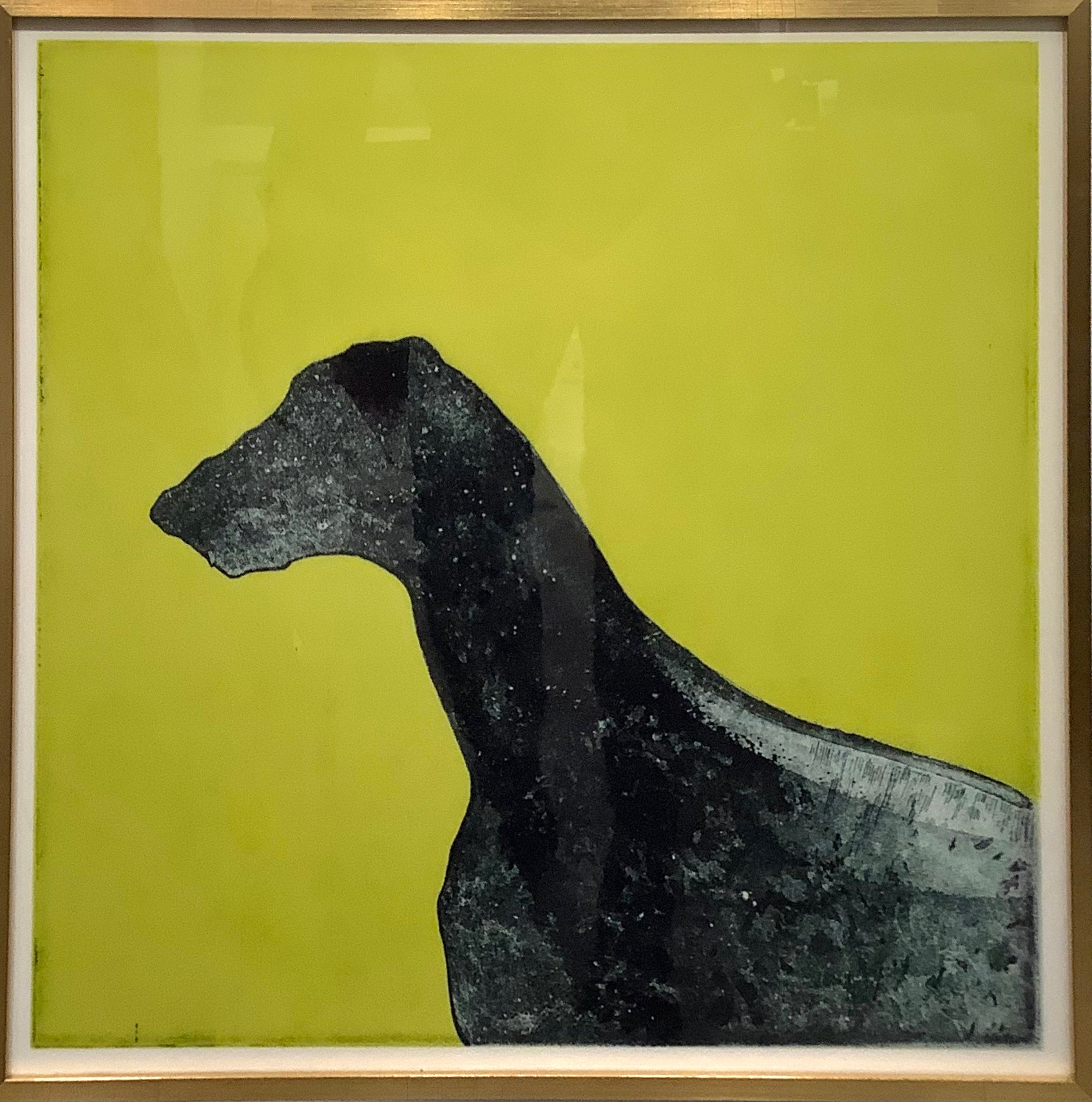 Dog on Green Painterly Crystal Porcelain Print