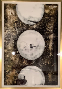 Three Moons Painterly Crystal Porcelain Print