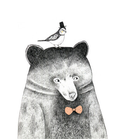 Bear, Bird, and Bowtie Crystal Ceramic Print