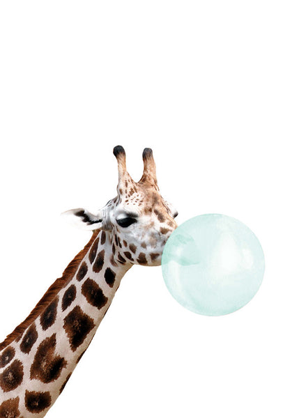 Giraffe Bubble Gum Crystal Ceramic Print