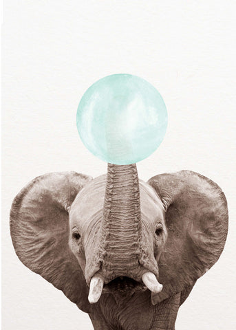 Elephant Bubblegum Crystal Ceramic Print