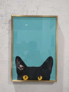 Cat on Blue Crystal Porcelain Print