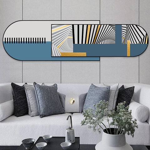 Gold and Blue Horizontal Layered Crystal Porcelain Print