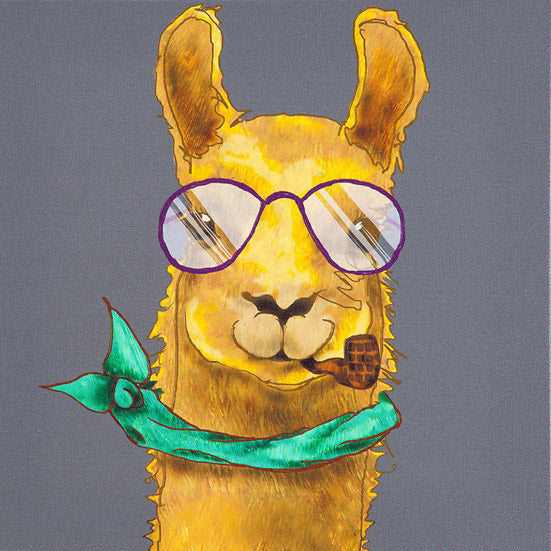 Llama with Glasses Crystal Ceramic Print