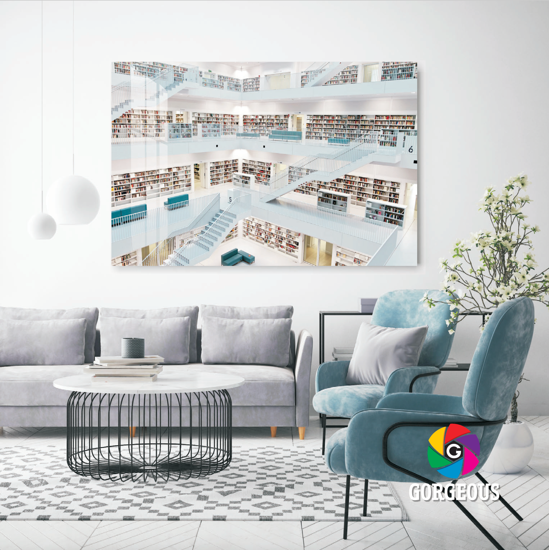 Library Crystal Glass Print