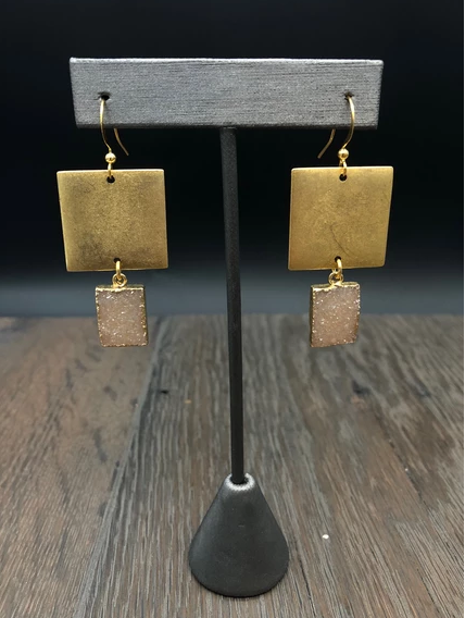 Hammered square earrings with square druzy