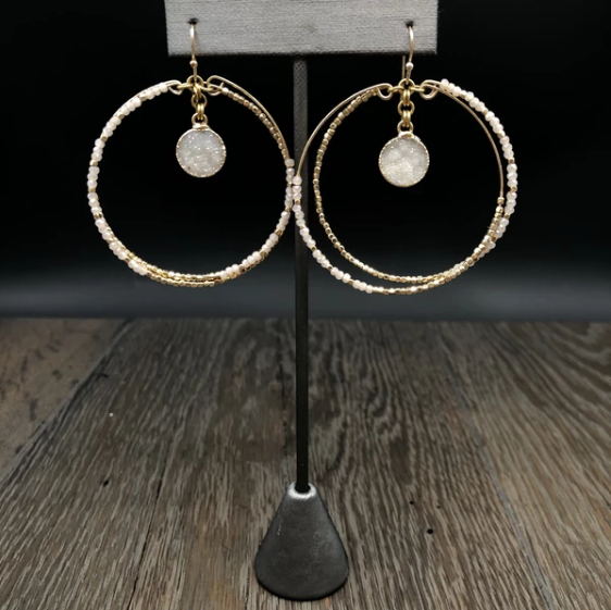 Beaded hoop with druzy drop earring