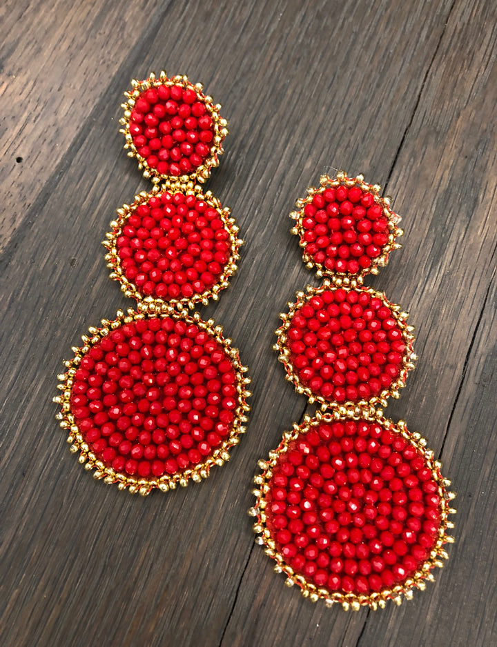 Seed bead three disc earrings