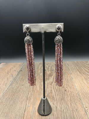 Swarovski crystal tassel earrings with pavé rhinestone posts