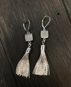 Metal tassel earring with angel aura druzy accent