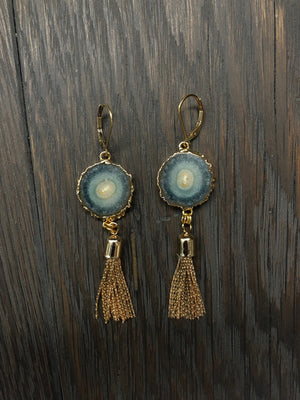 Jasper stalactite slice pairs with metal tassel earrings