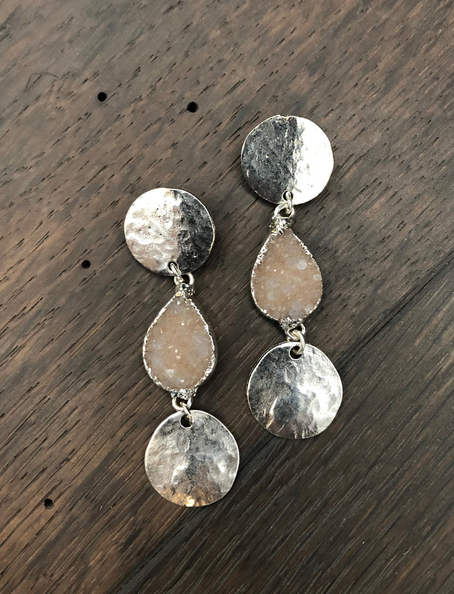 Hammered geometric post earrings with druzy accents - silver