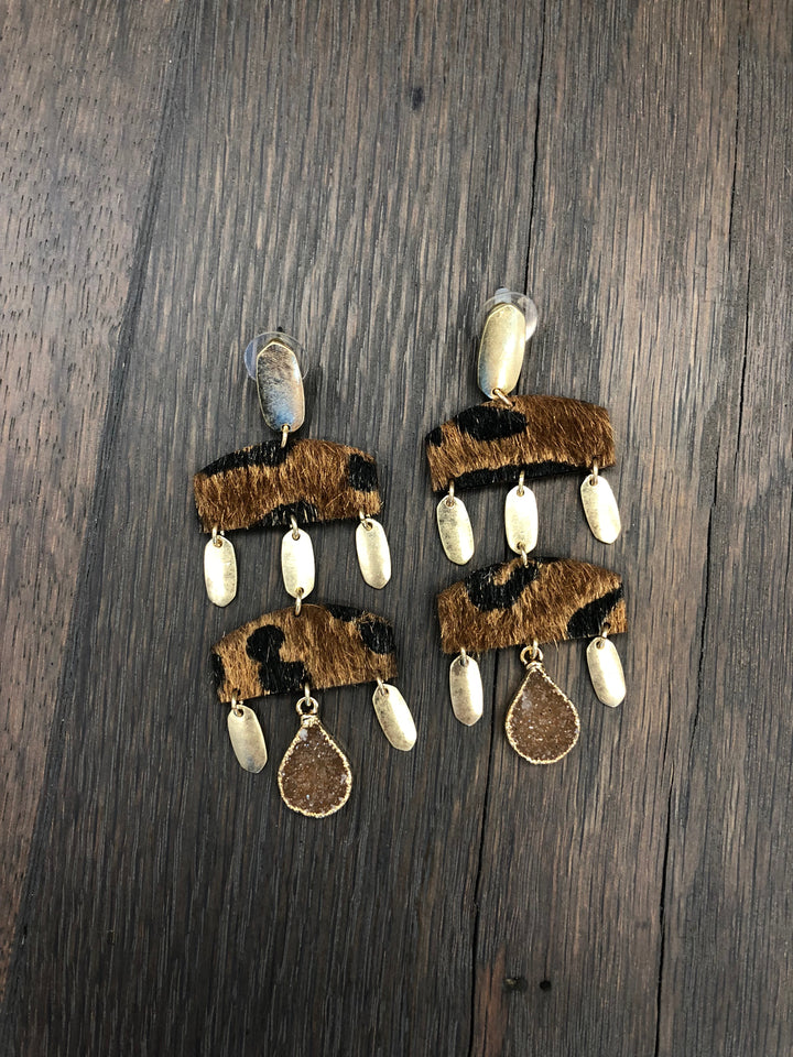 Faux pony hair leopard geometric earrings with druzy accents - tan