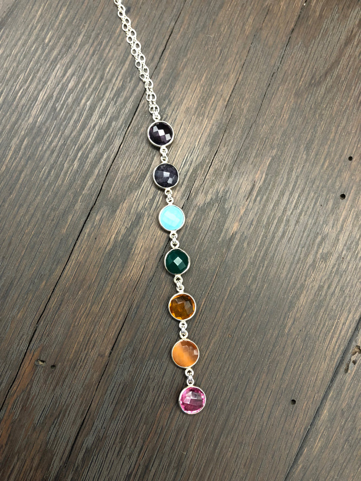 Seven chakra stone lariat necklace - silver and gold