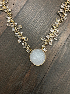 Druzy Full Moon pendant, dangling charm necklace - gold