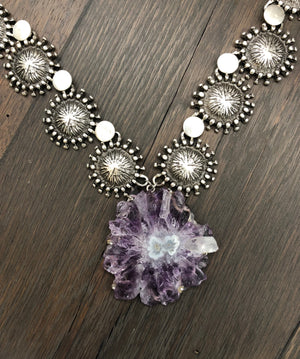 "Amethyst stalactite sunburst ""flower"", beaded disc necklace"