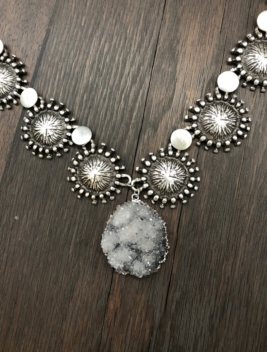 Frosted druzy, beaded disc statement necklace