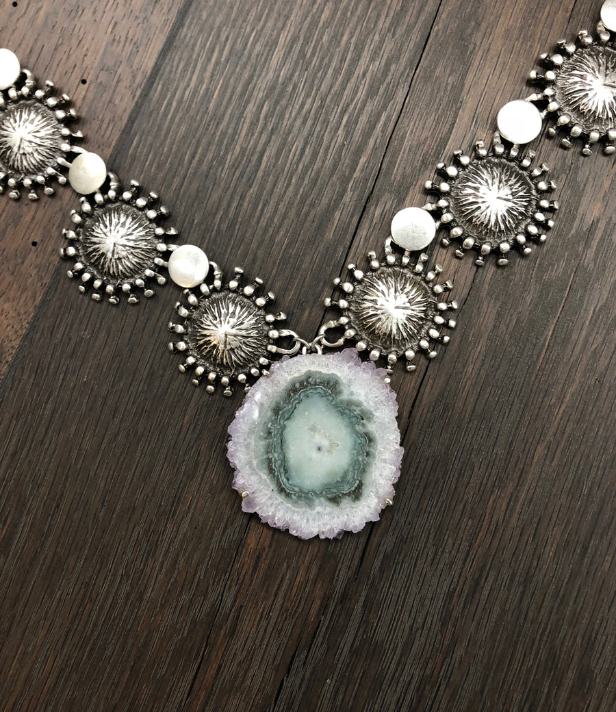 Amethyst stalactite slice, beaded disc necklace