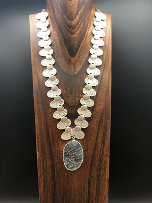 Large druzy pendant with oval textured disc necklace