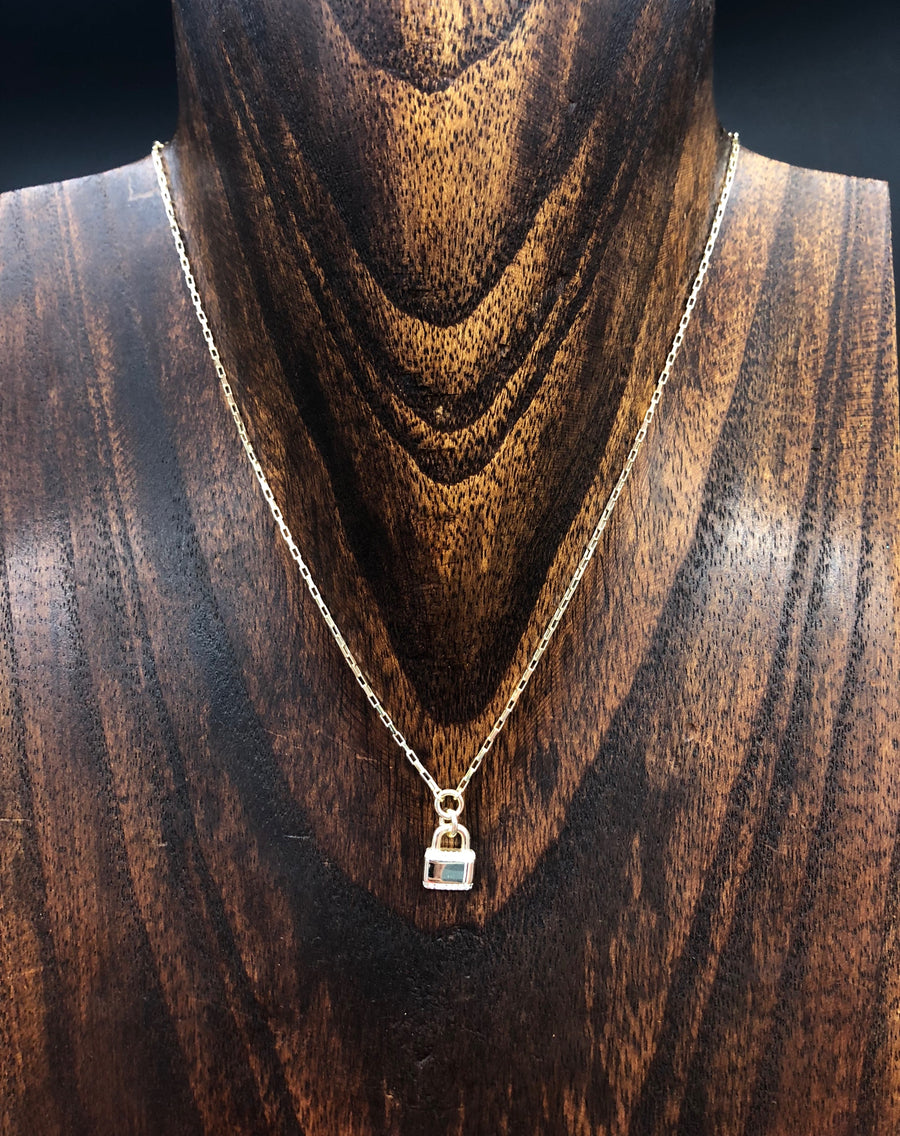 Tiny padlock layering necklace with cz trim