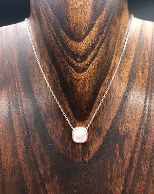 Bezel set coated druzy cushion necklace