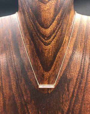 Baguette cz bar layering necklace