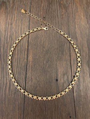 Dot bar beaded cable chain necklace
