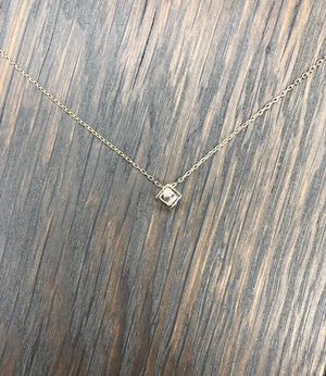 Tiny faceted cz cage necklace