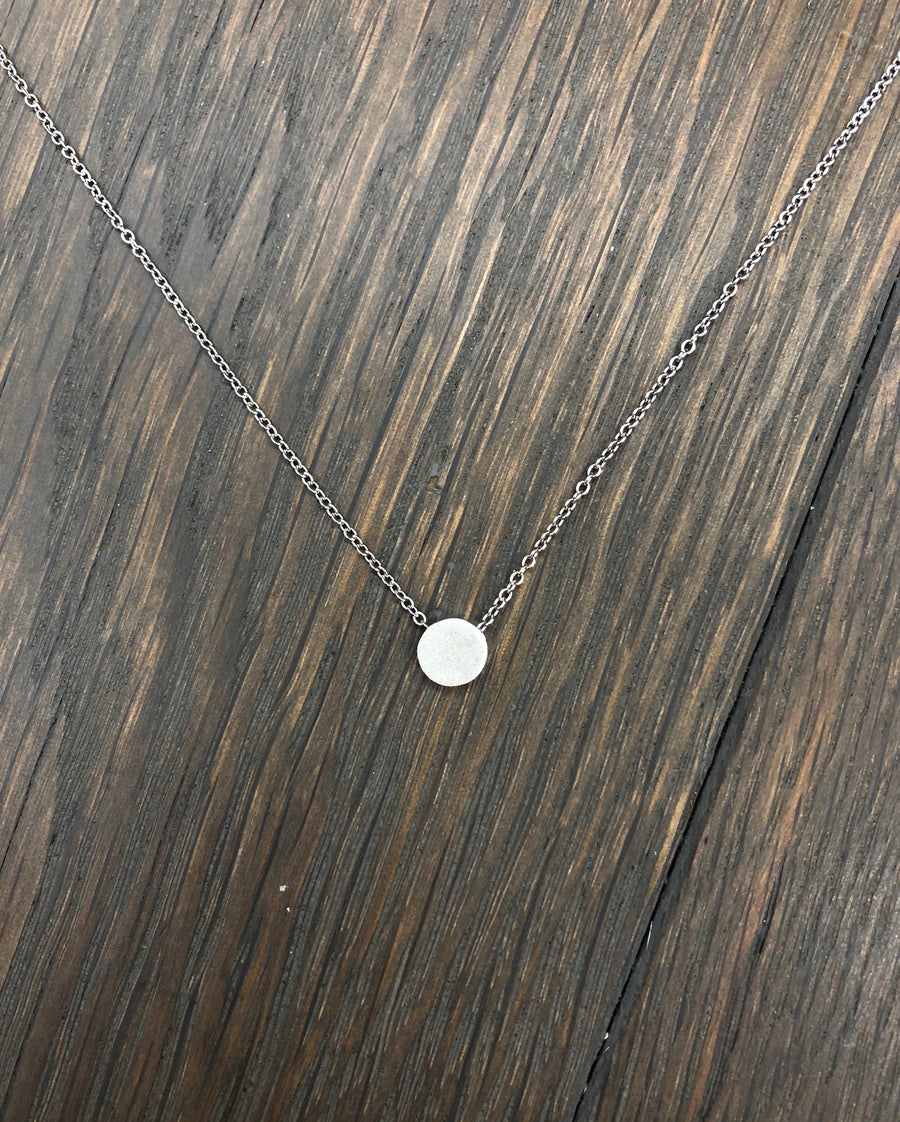 Brushed metal disc necklace