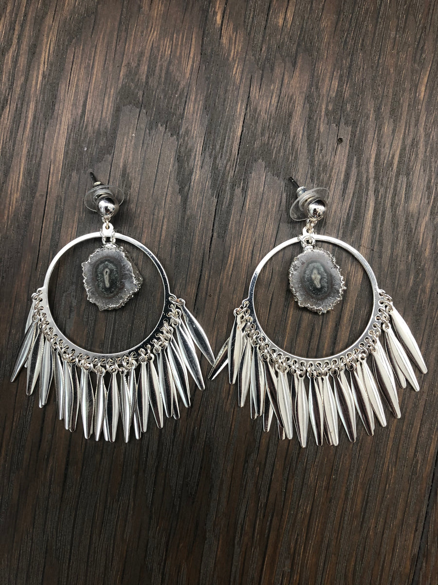 Fringe hoop earrings with amethyst/jasper stalactite slices - silver