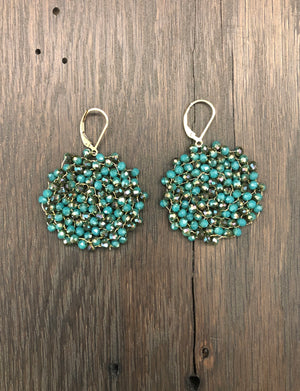 "Colored ""pebble"" disc seed bead earrings"