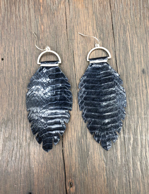 Leather leaf earrings with wire wrapped tops - silver