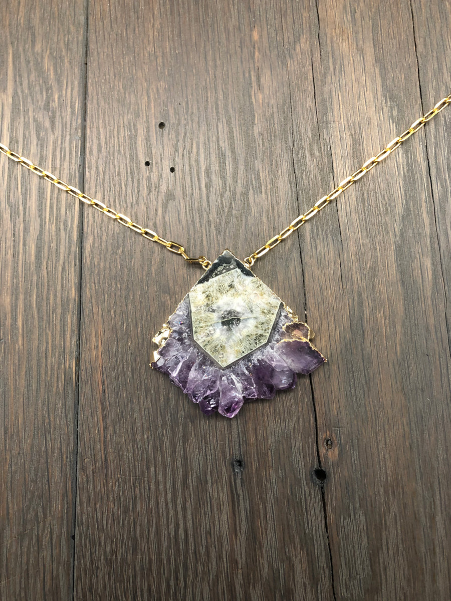 Amethyst stalactite fan necklace - gold