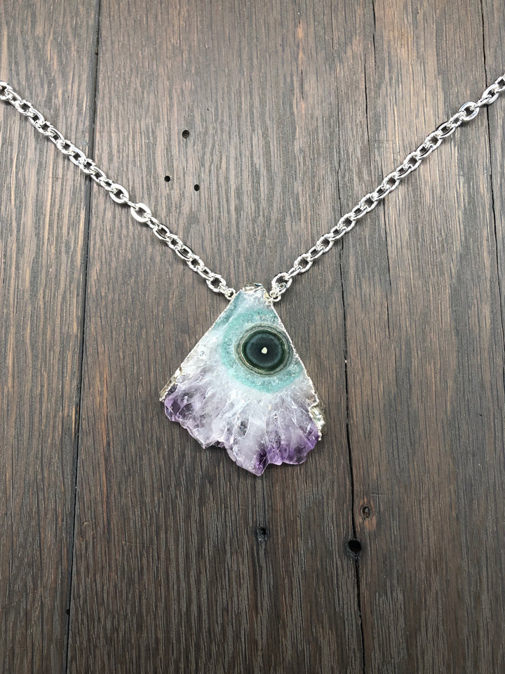 Amethyst stalactite fan necklace - silver