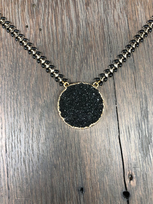 "Druzy ""New Moon"" necklace - gold"