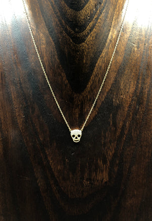 Pavé cz skull layering necklace