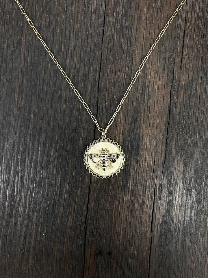 Bee coin layering necklace