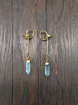 Circle stud earrings with stone spear dangle jackets