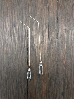 Stone spear threaded earrings - silver