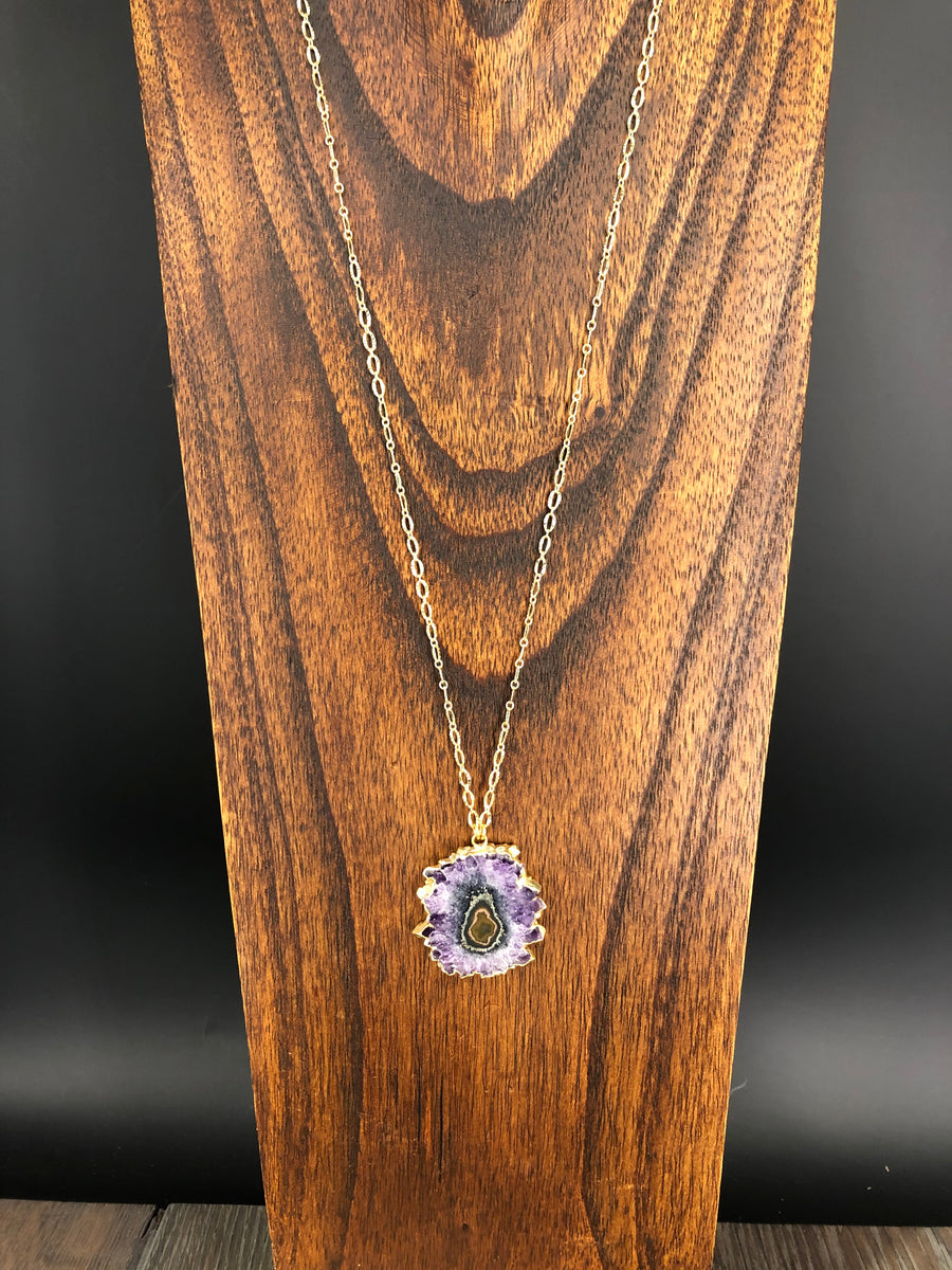 Medium amethyst stalactite slice necklace - gold