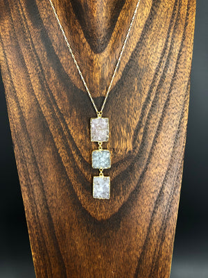 Three stone druzy lariat necklace - gold