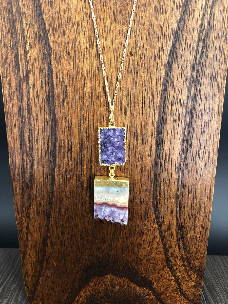 Long druzy and amethyst slice pair necklace - gold