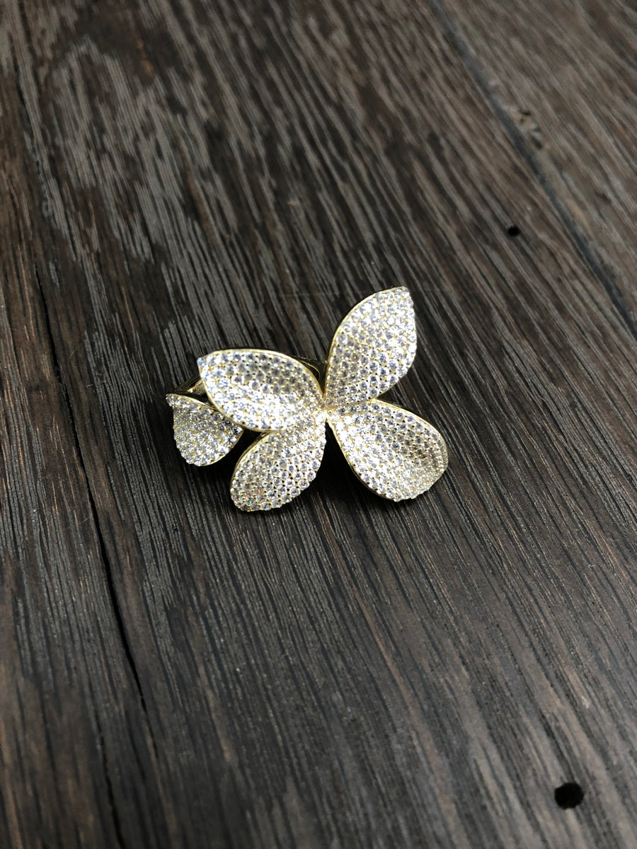 Pavé cz 3d flower wrap ring
