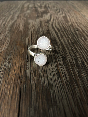 Double druzy adjustable ring - silver