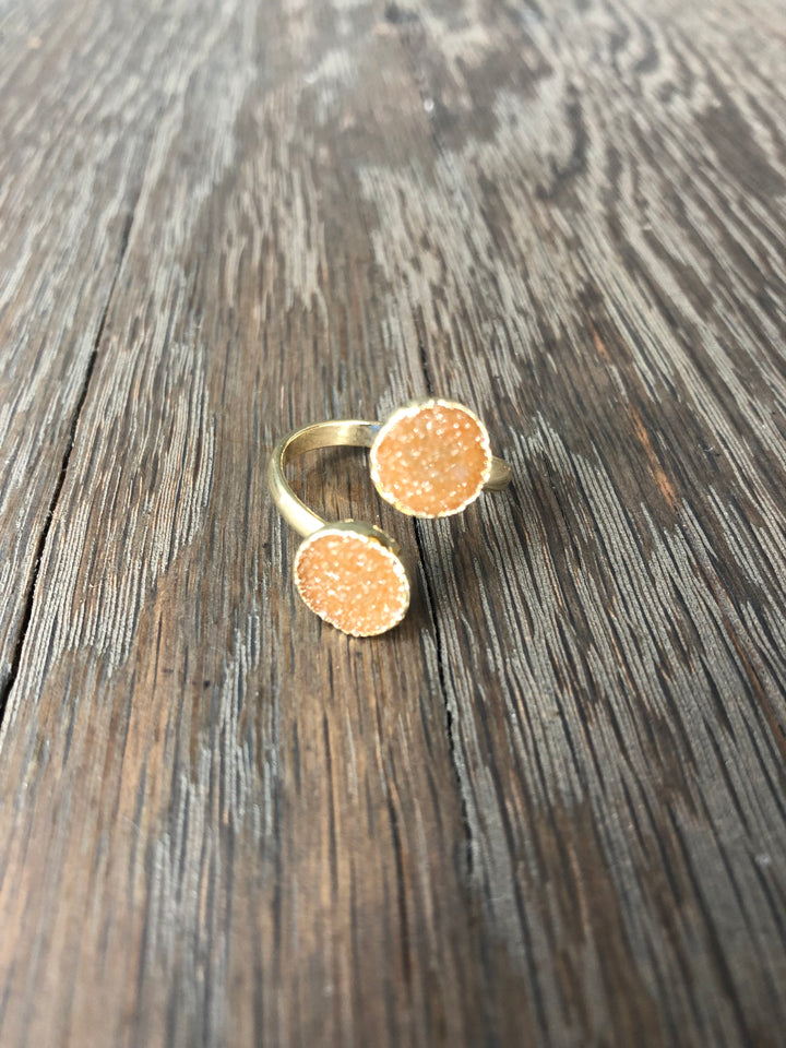 Double druzy adjustable ring - gold